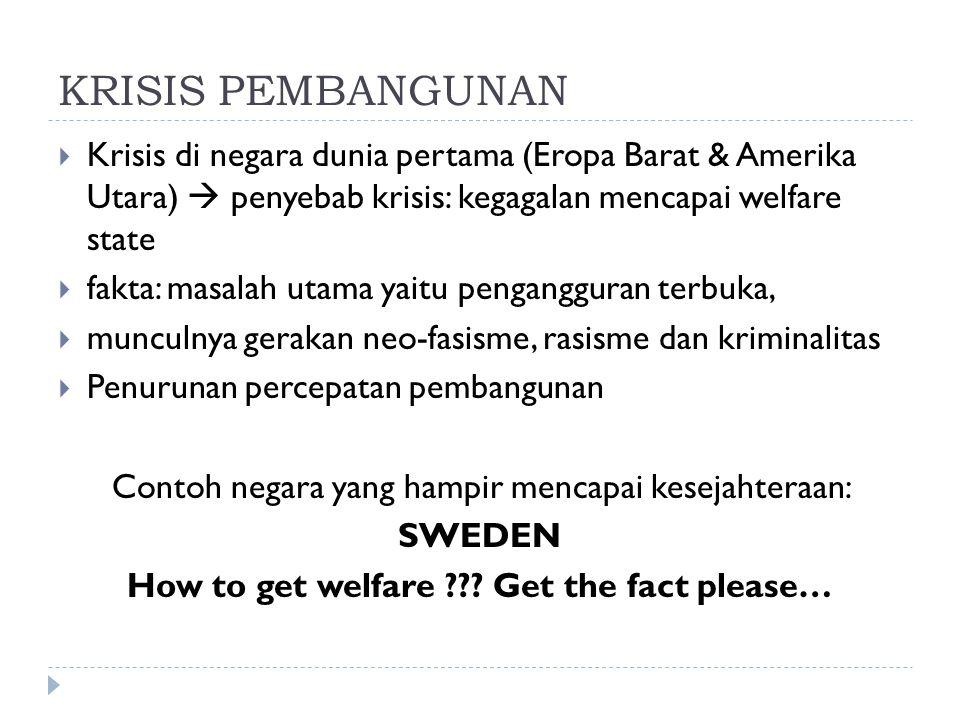 KRISIS PEMBANGUNAN  Krisis di negara dunia pertama (Eropa Barat & Amerika Utara)  penyebab krisis: kegagalan mencapai welfare state  fakta: masalah