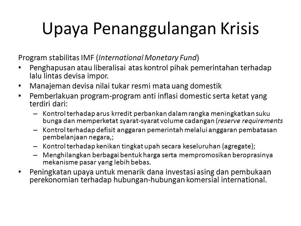 Upaya Penanggulangan Krisis Program stabilitas IMF (International Monetary Fund) Penghapusan atau liberalisai atas kontrol pihak pemerintahan terhadap
