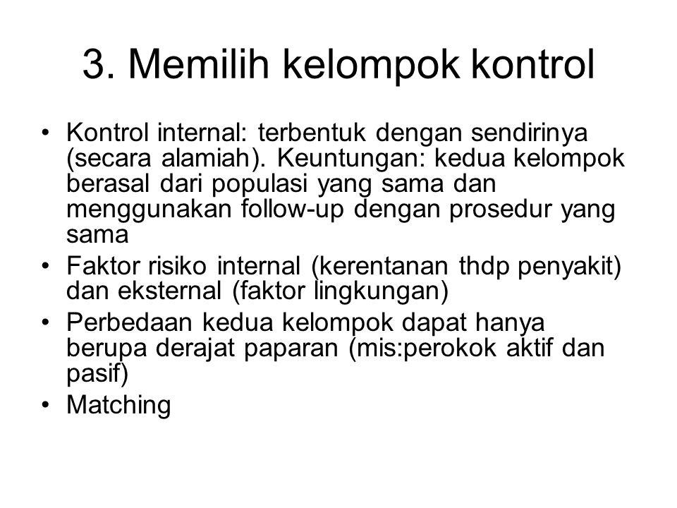 3.Memilih kelompok kontrol Kontrol internal: terbentuk dengan sendirinya (secara alamiah).