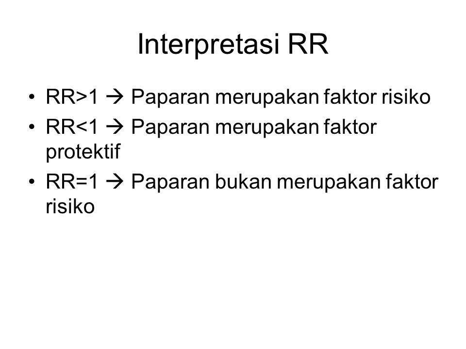 Interpretasi RR RR>1  Paparan merupakan faktor risiko RR<1  Paparan merupakan faktor protektif RR=1  Paparan bukan merupakan faktor risiko