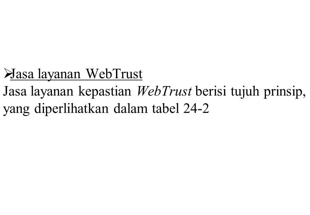  Jasa layanan WebTrust Jasa layanan kepastian WebTrust berisi tujuh prinsip, yang diperlihatkan dalam tabel 24-2