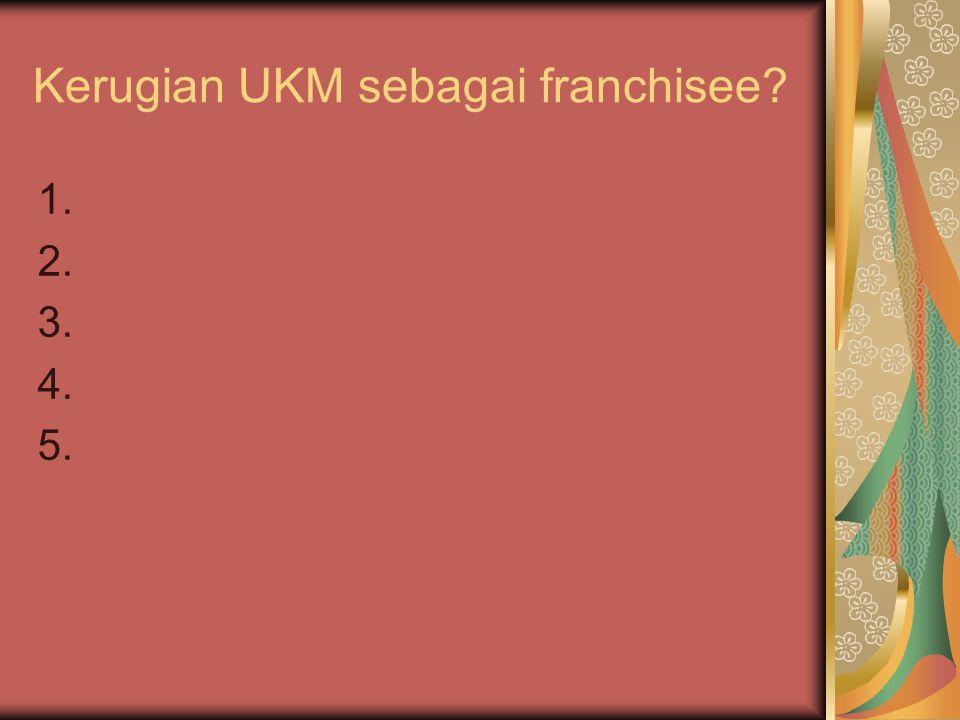 Kerugian UKM sebagai franchisee? 1. 2. 3. 4. 5.