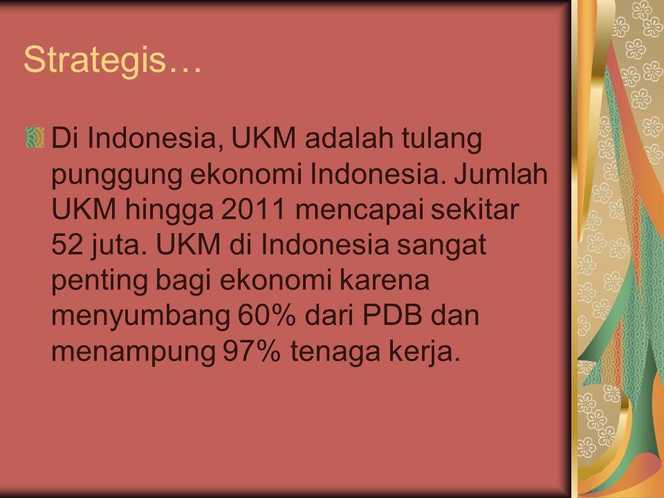 Strategis… Di Indonesia, UKM adalah tulang punggung ekonomi Indonesia. Jumlah UKM hingga 2011 mencapai sekitar 52 juta. UKM di Indonesia sangat pentin