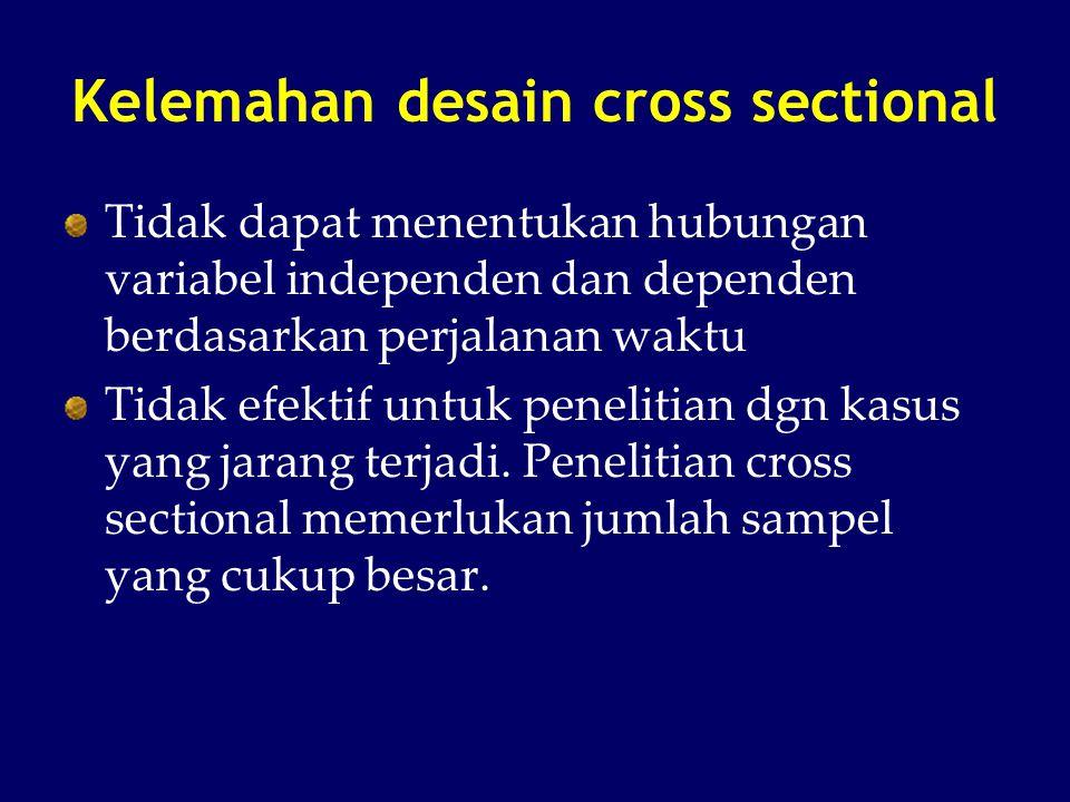 Kelemahan desain cross sectional Tidak dapat menentukan hubungan variabel independen dan dependen berdasarkan perjalanan waktu Tidak efektif untuk pen