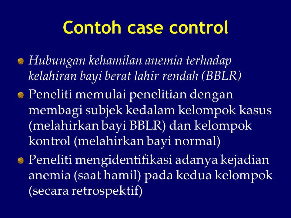 Contoh case control Hubungan kehamilan anemia terhadap kelahiran bayi berat lahir rendah (BBLR) Peneliti memulai penelitian dengan membagi subjek keda
