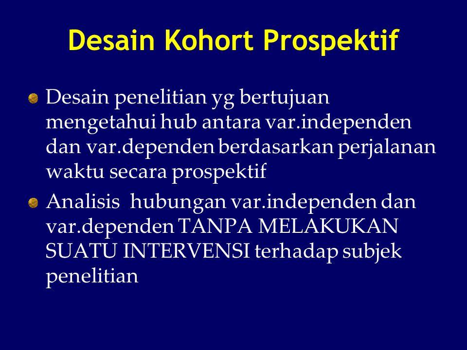 Desain Kohort Prospektif Desain penelitian yg bertujuan mengetahui hub antara var.independen dan var.dependen berdasarkan perjalanan waktu secara pros