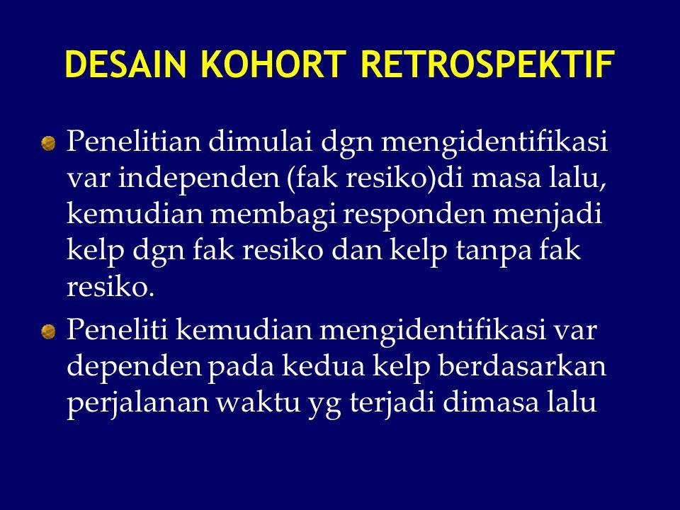 DESAIN KOHORT RETROSPEKTIF Penelitian dimulai dgn mengidentifikasi var independen (fak resiko)di masa lalu, kemudian membagi responden menjadi kelp dg