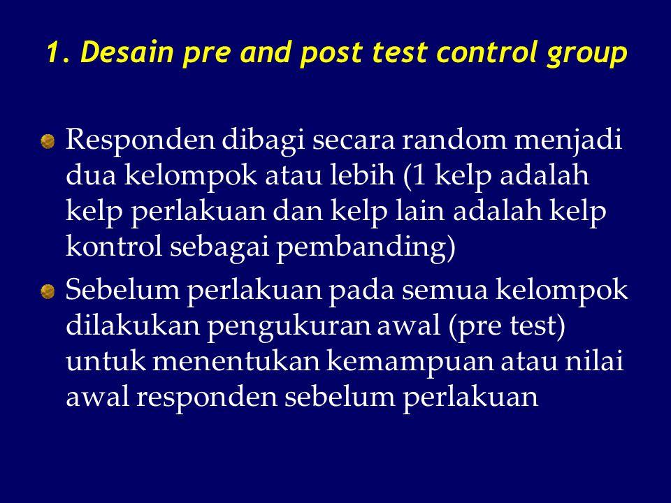 1. Desain pre and post test control group Responden dibagi secara random menjadi dua kelompok atau lebih (1 kelp adalah kelp perlakuan dan kelp lain a