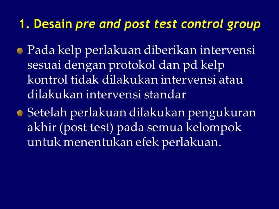 1. Desain pre and post test control group Pada kelp perlakuan diberikan intervensi sesuai dengan protokol dan pd kelp kontrol tidak dilakukan interven