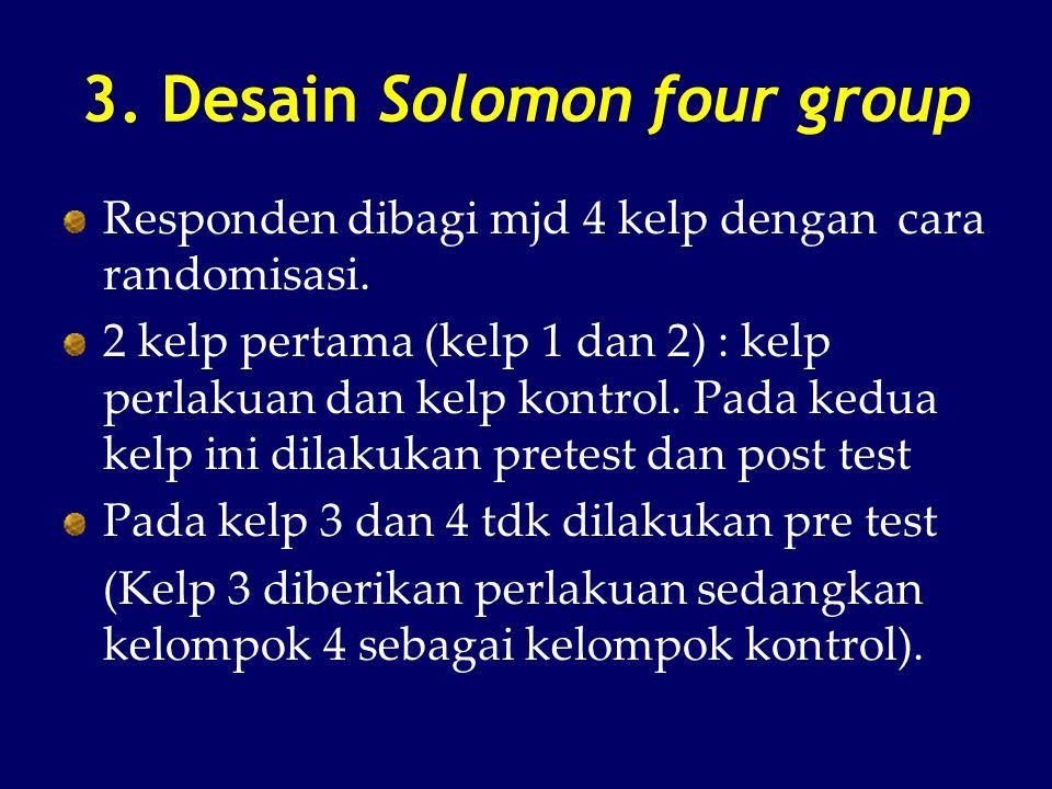 3. Desain Solomon four group Responden dibagi mjd 4 kelp dengan cara randomisasi. 2 kelp pertama (kelp 1 dan 2) : kelp perlakuan dan kelp kontrol. Pad