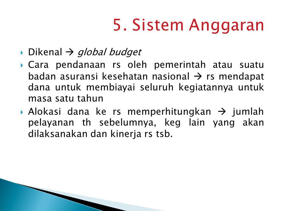  Dikenal  global budget  Cara pendanaan rs oleh pemerintah atau suatu badan asuransi kesehatan nasional  rs mendapat dana untuk membiayai seluruh