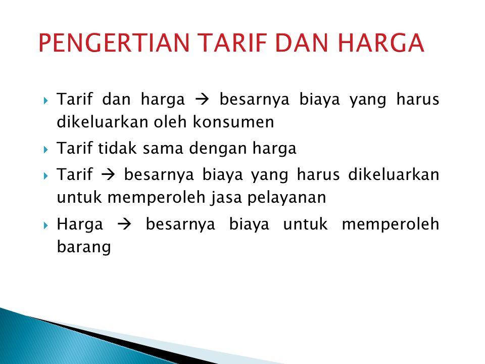  Tarif dan harga  besarnya biaya yang harus dikeluarkan oleh konsumen  Tarif tidak sama dengan harga  Tarif  besarnya biaya yang harus dikeluarka