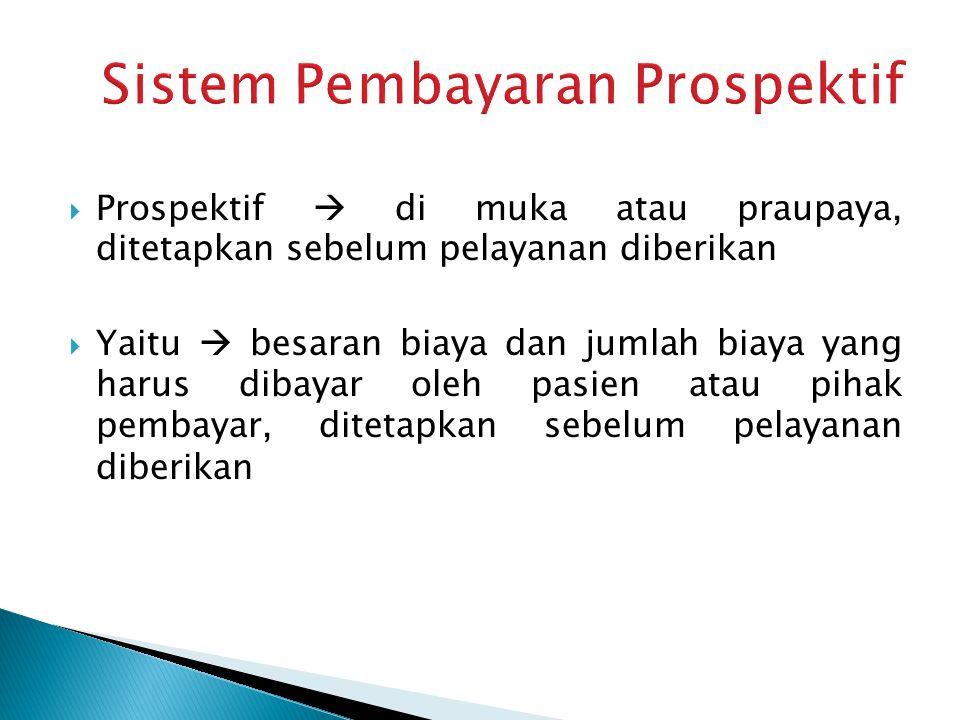  Prospektif  di muka atau praupaya, ditetapkan sebelum pelayanan diberikan  Yaitu  besaran biaya dan jumlah biaya yang harus dibayar oleh pasien a