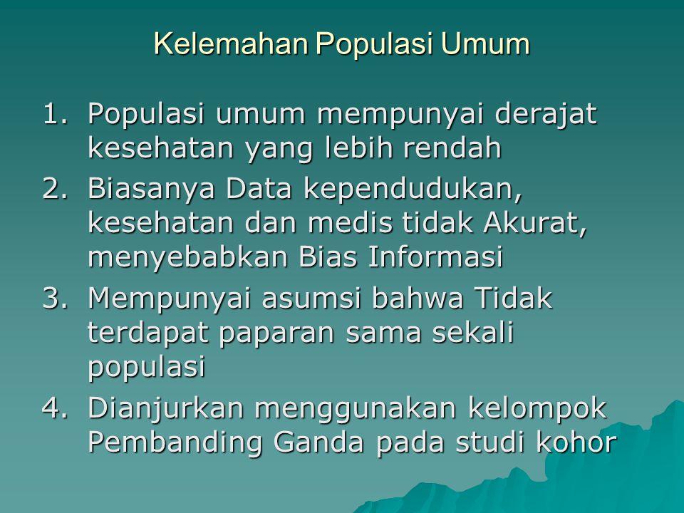 Memilih populasi tidak terpapar Populasi sumber :  Populasi Kohor Bisa diambil dari populasi yang sama dengan populasi asal kelompok terpapar Bisa di