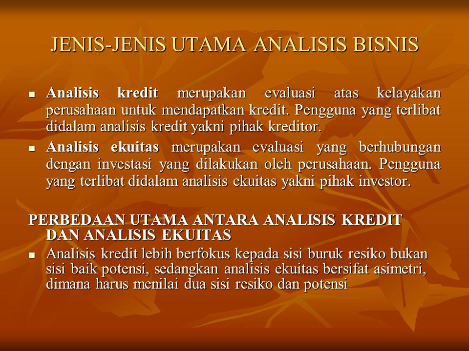 JENIS-JENIS UTAMA ANALISIS BISNIS Analisis kredit merupakan evaluasi atas kelayakan perusahaan untuk mendapatkan kredit. Pengguna yang terlibat didala