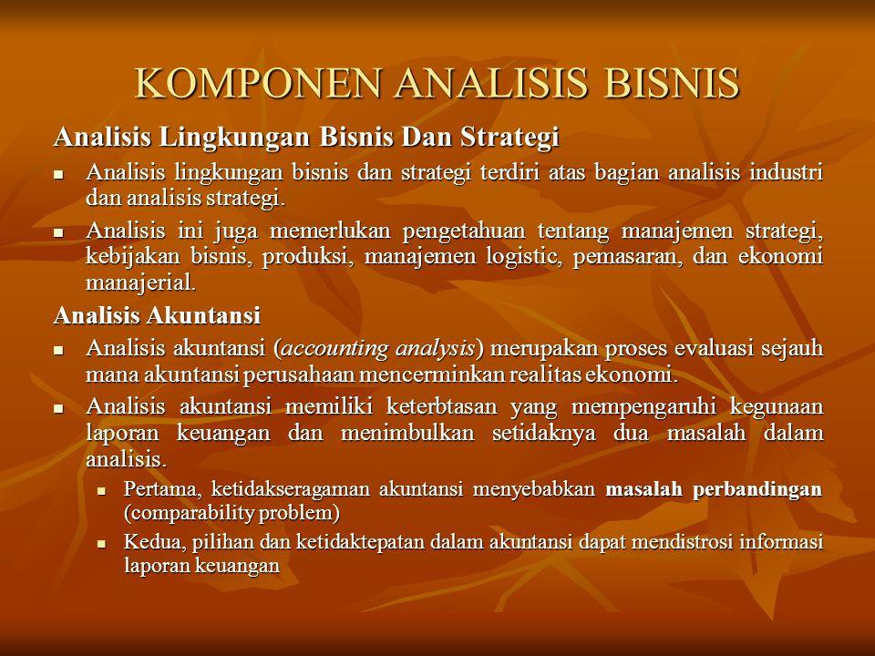 KOMPONEN ANALISIS BISNIS Analisis Lingkungan Bisnis Dan Strategi Analisis lingkungan bisnis dan strategi terdiri atas bagian analisis industri dan ana