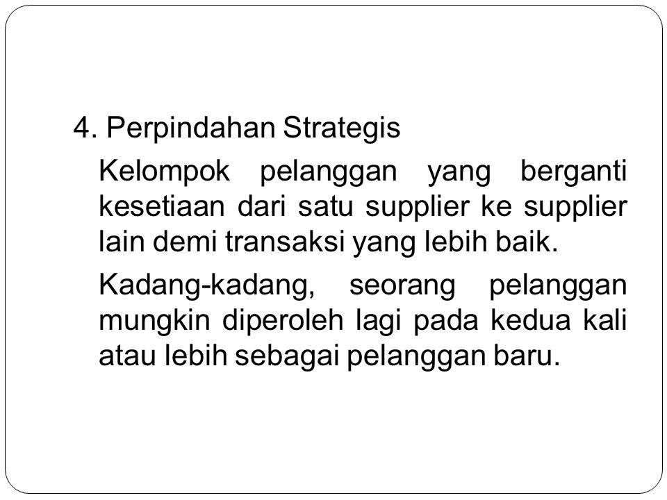 4. Perpindahan Strategis Kelompok pelanggan yang berganti kesetiaan dari satu supplier ke supplier lain demi transaksi yang lebih baik. Kadang-kadang,