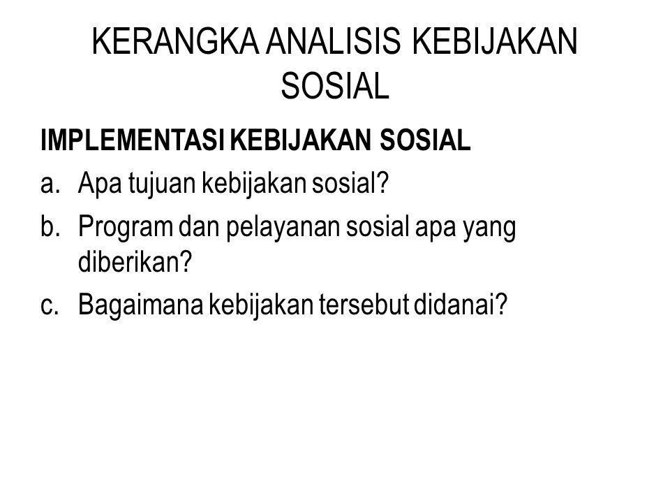 KERANGKA ANALISIS KEBIJAKAN SOSIAL IMPLEMENTASI KEBIJAKAN SOSIAL a.Apa tujuan kebijakan sosial? b.Program dan pelayanan sosial apa yang diberikan? c.B