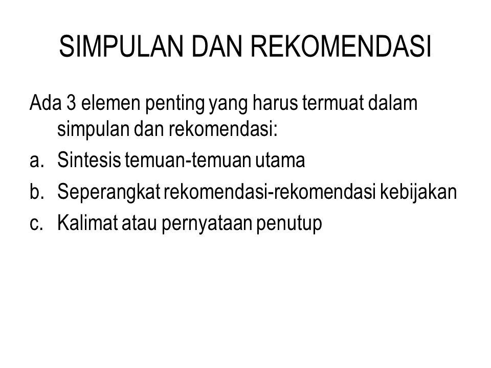 SIMPULAN DAN REKOMENDASI Ada 3 elemen penting yang harus termuat dalam simpulan dan rekomendasi: a.Sintesis temuan-temuan utama b.Seperangkat rekomend
