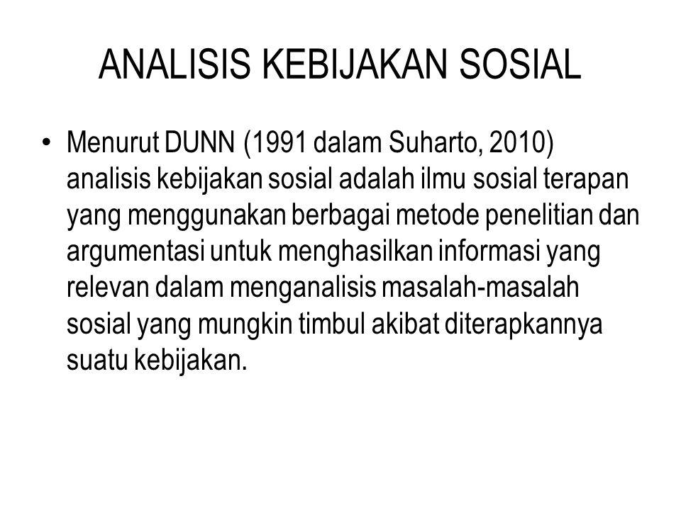 ANALISIS KEBIJAKAN SOSIAL Menurut Quade (1995 dalam Suharto, 2010) analisis kebijakan sosial adalah jenis penelaahan yang menghasilkan informasi sedemikian rupa yang dapat dijadikan dasar-dasar pertimbangan para pembuat kebijakan dalam memberikan penilaian- penilaian terhadap penerapan kebijakan sehingga diperoleh alternatif-alternatif perbaikannya.