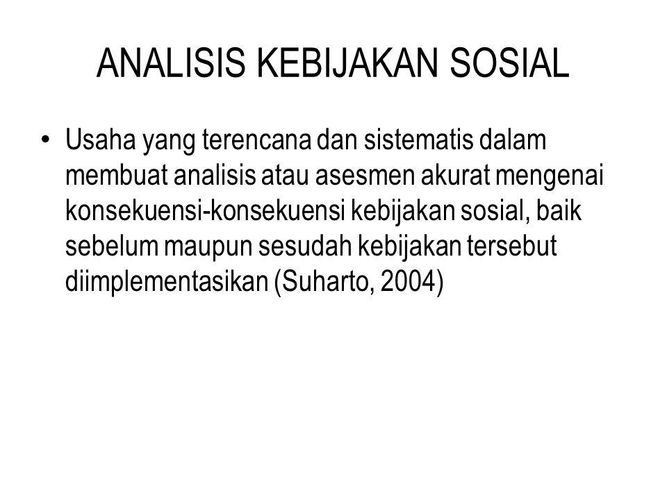 MODEL ANALISIS KEBIJAKAN SOSIAL Menurut DUNN (1991 dalam Suharto, 2010) terdapat 3 model AKS: (1) Model Prospektif; (2) Model Retrospektif, dan (3) Model Integratif.