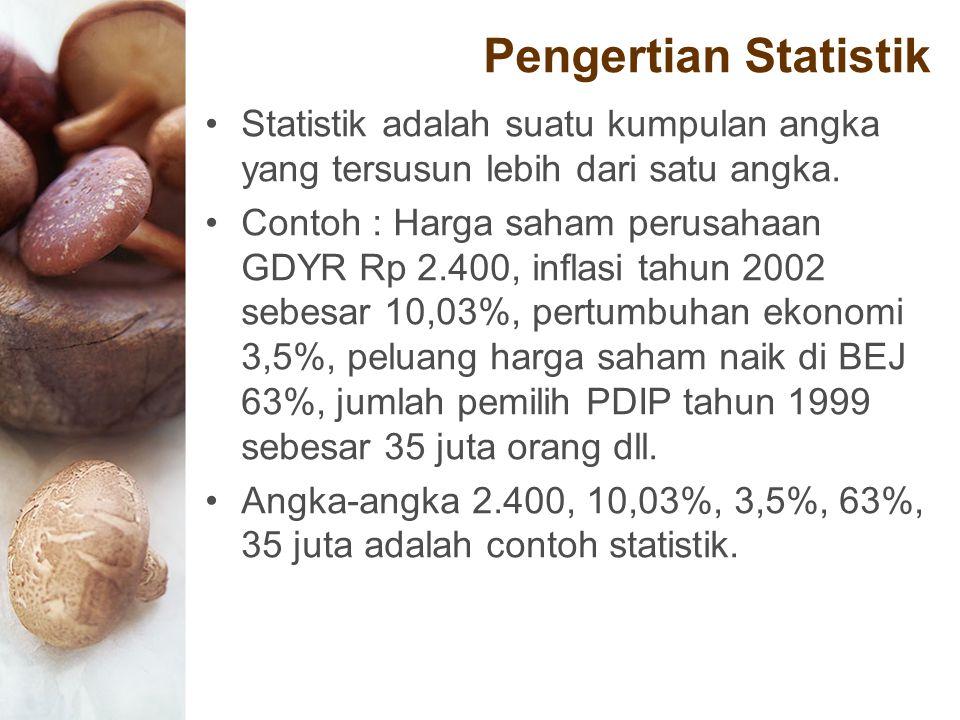 Pengertian Statistik Statistik adalah suatu kumpulan angka yang tersusun lebih dari satu angka. Contoh : Harga saham perusahaan GDYR Rp 2.400, inflasi