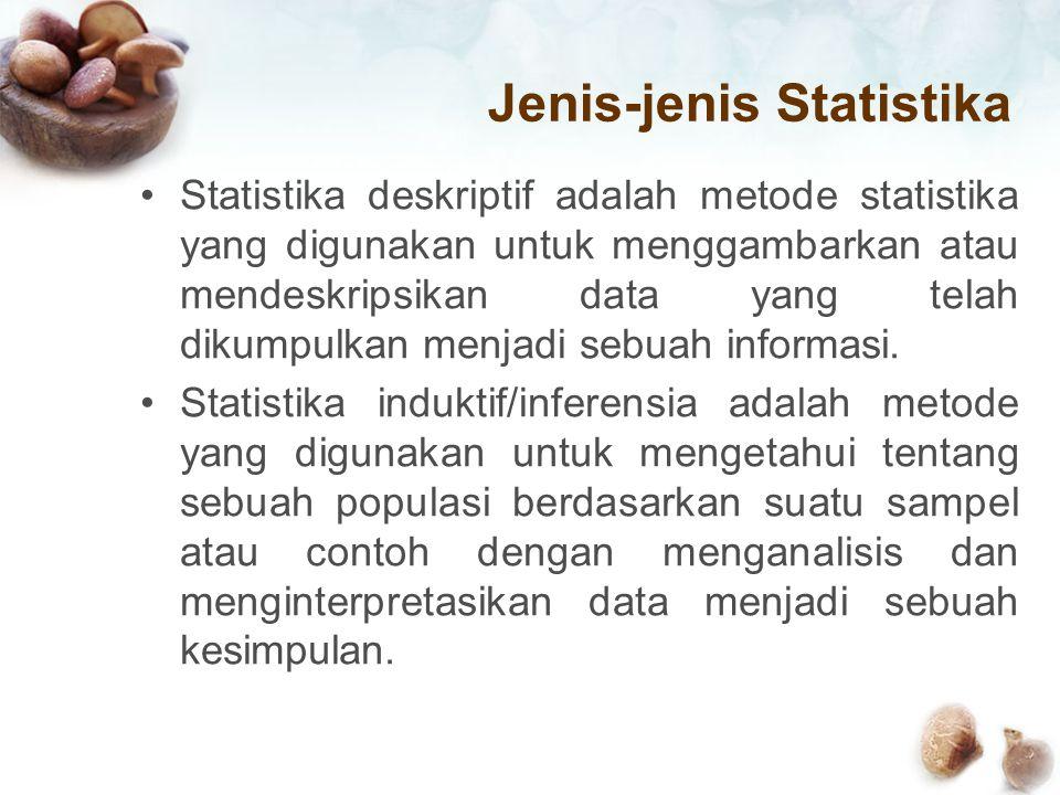 Jenis-jenis Statistika Statistika deskriptif adalah metode statistika yang digunakan untuk menggambarkan atau mendeskripsikan data yang telah dikumpul
