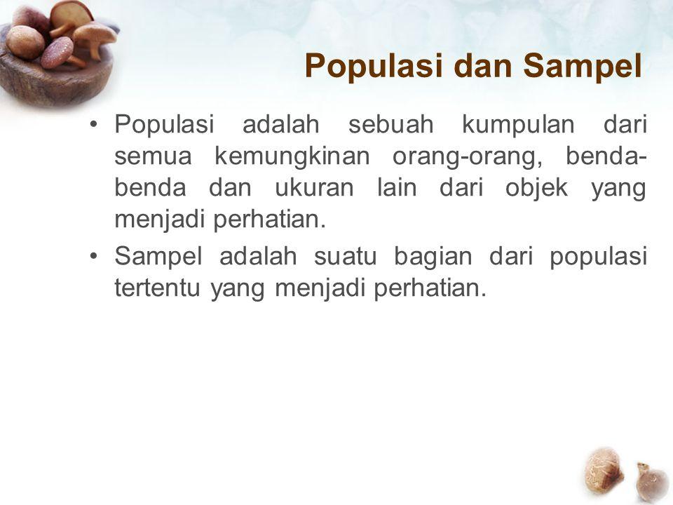 Populasi dan Sampel Populasi adalah sebuah kumpulan dari semua kemungkinan orang-orang, benda- benda dan ukuran lain dari objek yang menjadi perhatian.