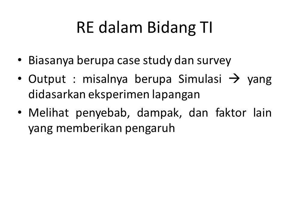 RE dalam Bidang TI Biasanya berupa case study dan survey Output : misalnya berupa Simulasi  yang didasarkan eksperimen lapangan Melihat penyebab, dam