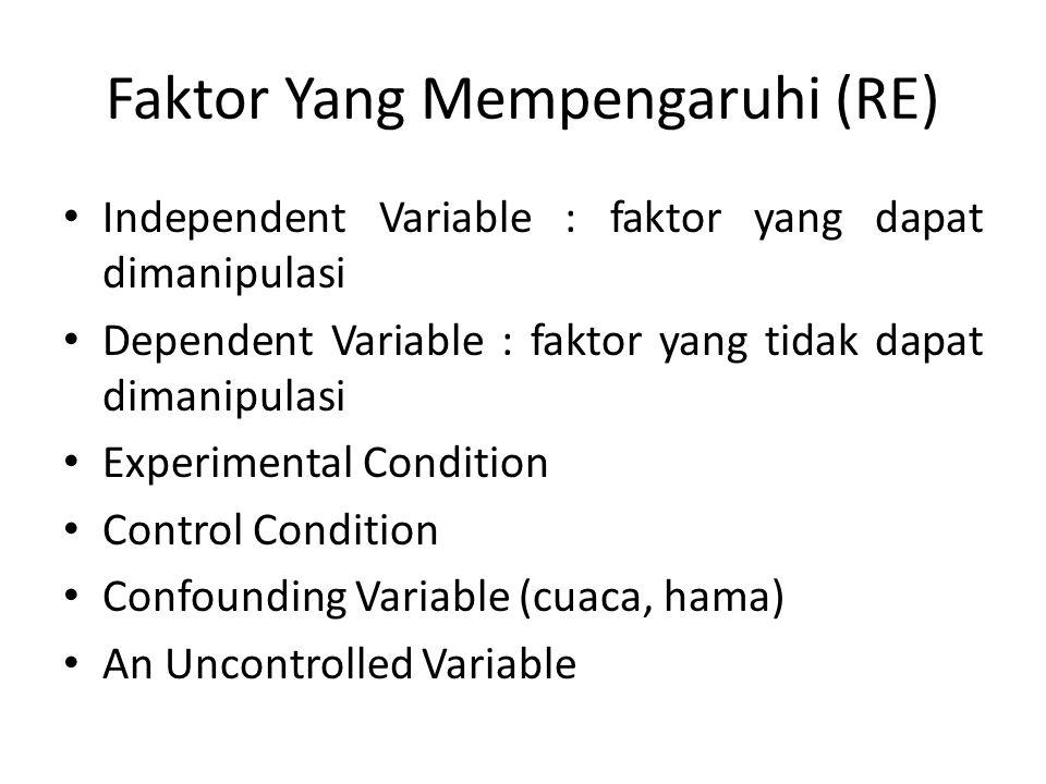 Faktor Yang Mempengaruhi (RE) Independent Variable : faktor yang dapat dimanipulasi Dependent Variable : faktor yang tidak dapat dimanipulasi Experime