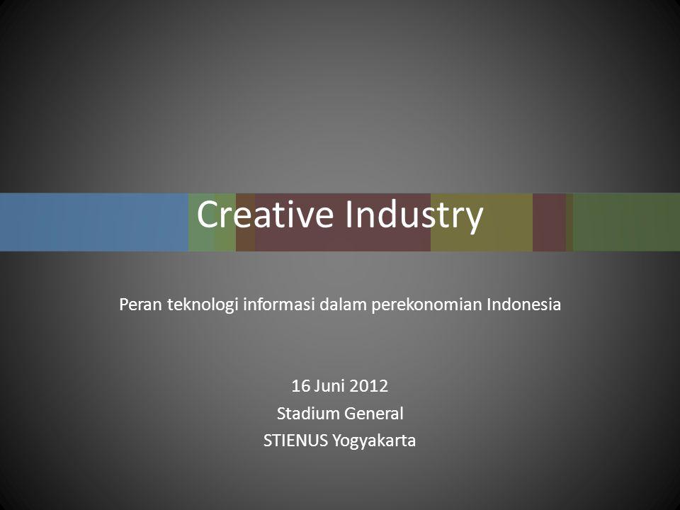 Creative Industry Peran teknologi informasi dalam perekonomian Indonesia 16 Juni 2012 Stadium General STIENUS Yogyakarta