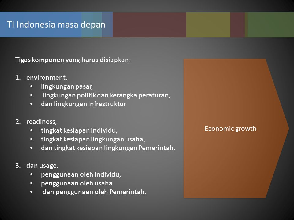 TI Indonesia masa depan Tigas komponen yang harus disiapkan: 1.environment, lingkungan pasar, lingkungan politik dan kerangka peraturan, dan lingkunga