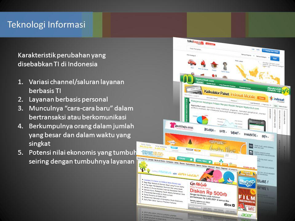 Teknologi Informasi Karakteristik perubahan yang disebabkan TI di Indonesia 1.Variasi channel/saluran layanan berbasis TI 2.Layanan berbasis personal