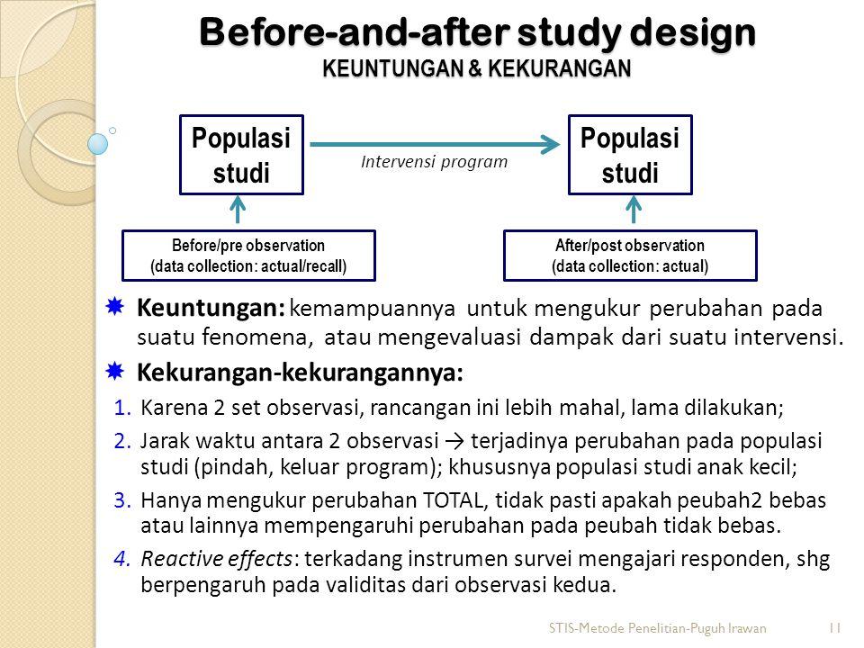 Before-and-after study design KEUNTUNGAN & KEKURANGAN Intervensi program  Keuntungan: kemampuannya untuk mengukur perubahan pada suatu fenomena, atau