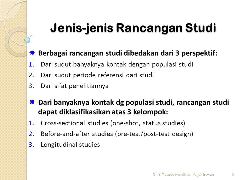 Jenis-jenis Rancangan Studi  Berbagai rancangan studi dibedakan dari 3 perspektif: 1.Dari sudut banyaknya kontak dengan populasi studi 2.Dari sudut p