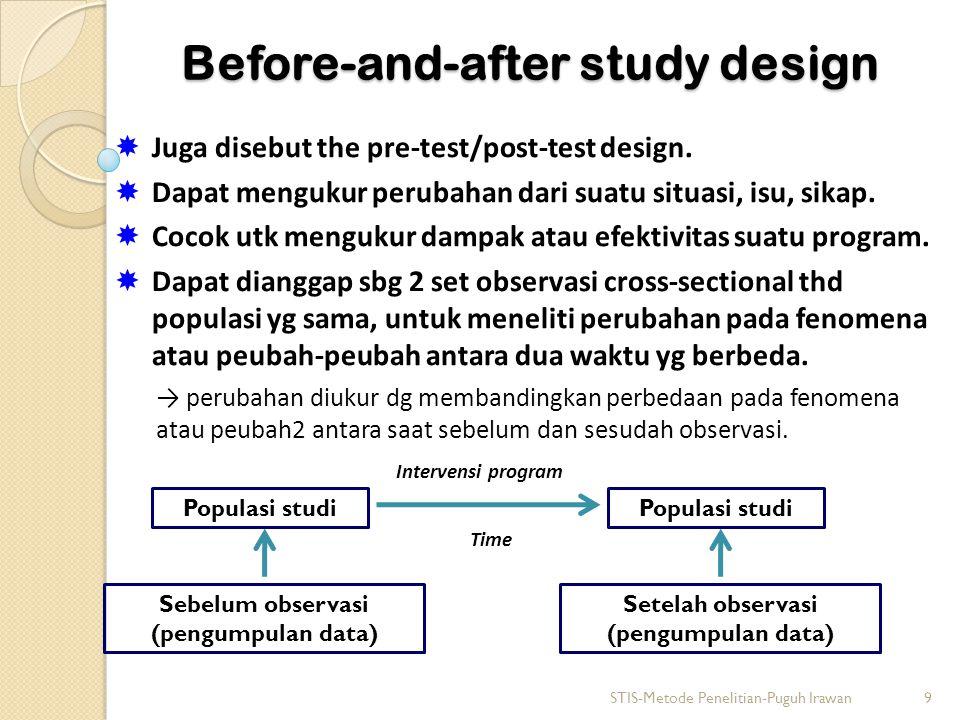 Before-and-after study design  Juga disebut the pre-test/post-test design.  Dapat mengukur perubahan dari suatu situasi, isu, sikap.  Cocok utk men