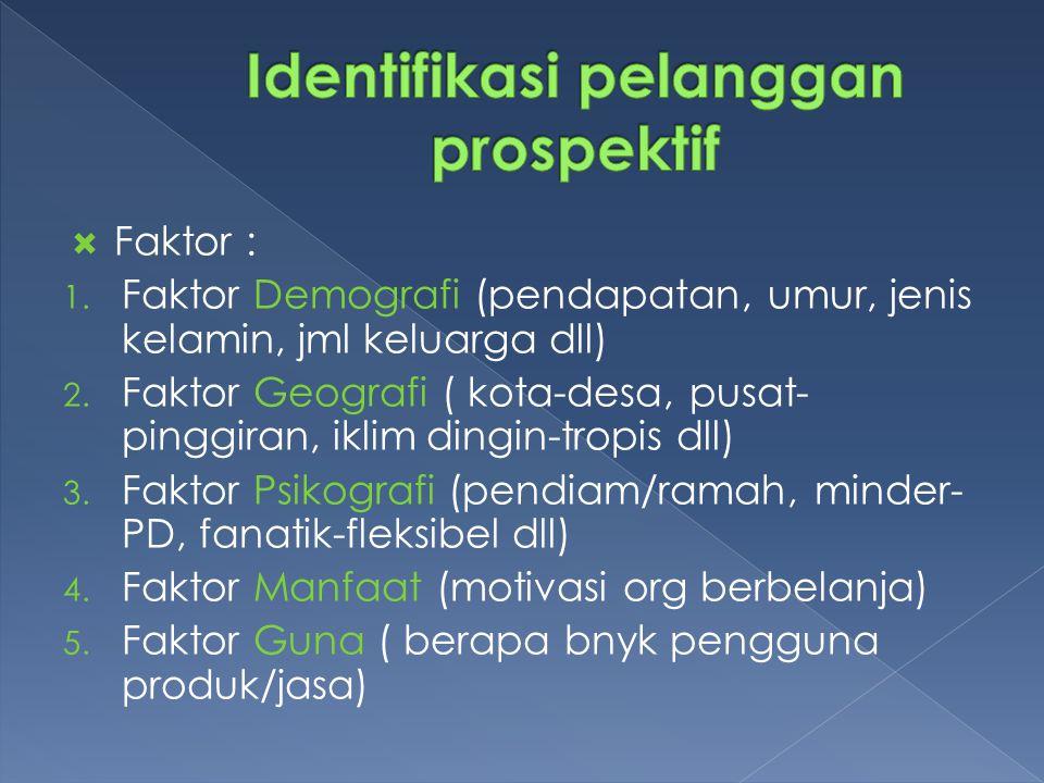  Faktor : 1. Faktor Demografi (pendapatan, umur, jenis kelamin, jml keluarga dll) 2.