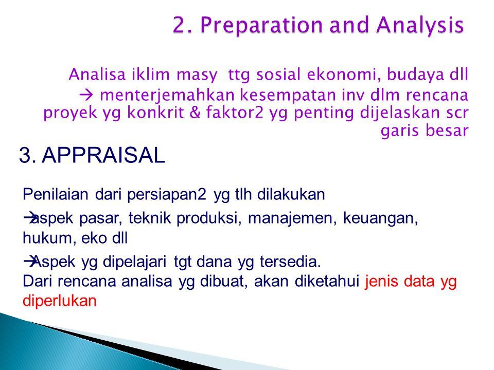 Analisa iklim masy ttg sosial ekonomi, budaya dll  menterjemahkan kesempatan inv dlm rencana proyek yg konkrit & faktor2 yg penting dijelaskan scr garis besar 3.