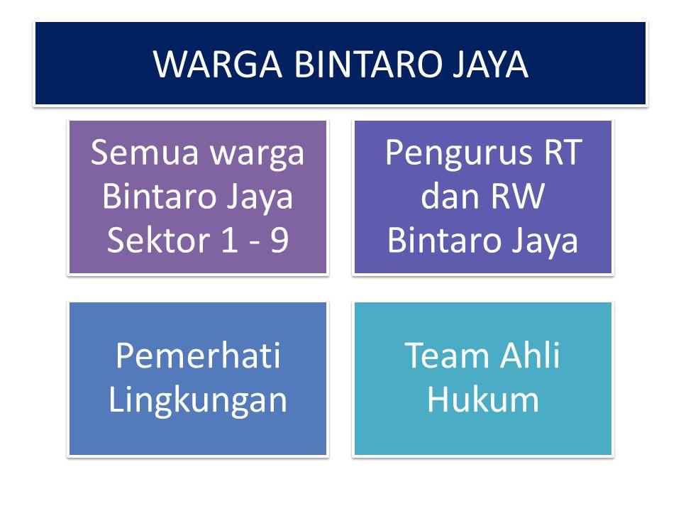 WARGA BINTARO JAYA Semua warga Bintaro Jaya Sektor 1 - 9 Pengurus RT dan RW Bintaro Jaya Pemerhati Lingkungan Team Ahli Hukum