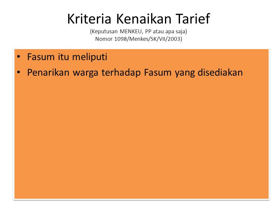 Kriteria Kenaikan Tarief (Keputusan MENKEU, PP atau apa saja) Nomor 1098/Menkes/SK/VII/2003) Fasum itu meliputi Penarikan warga terhadap Fasum yang di