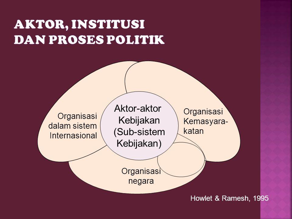 Aktor-aktor Kebijakan (Sub-sistem Kebijakan) Organisasi dalam sistem Internasional Organisasi Kemasyara- katan Organisasi negara Howlet & Ramesh, 1995