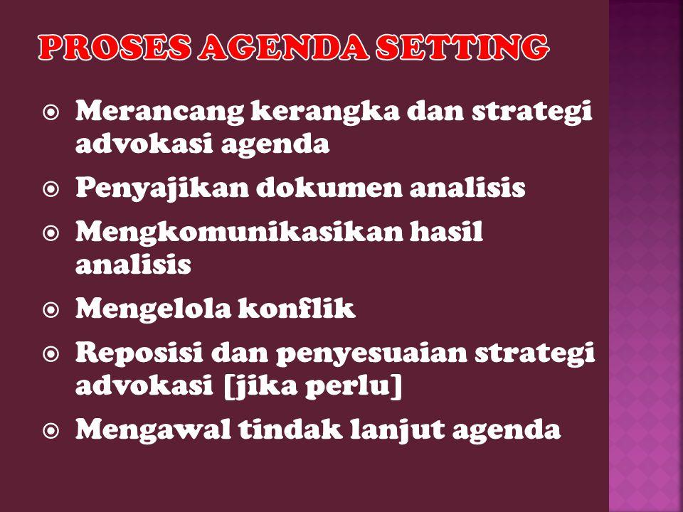  Merancang kerangka dan strategi advokasi agenda  Penyajikan dokumen analisis  Mengkomunikasikan hasil analisis  Mengelola konflik  Reposisi dan