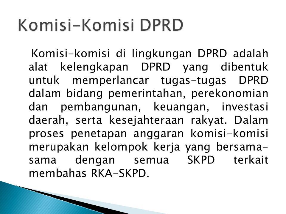 Komisi-komisi di lingkungan DPRD adalah alat kelengkapan DPRD yang dibentuk untuk memperlancar tugas-tugas DPRD dalam bidang pemerintahan, perekonomia