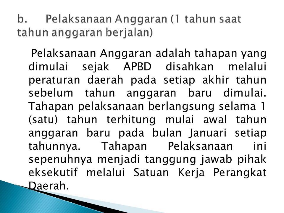 Pelaksanaan Anggaran adalah tahapan yang dimulai sejak APBD disahkan melalui peraturan daerah pada setiap akhir tahun sebelum tahun anggaran baru dimu