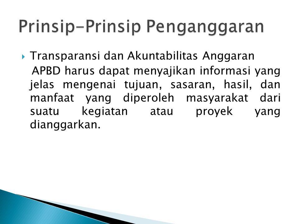  Transparansi dan Akuntabilitas Anggaran APBD harus dapat menyajikan informasi yang jelas mengenai tujuan, sasaran, hasil, dan manfaat yang diperoleh
