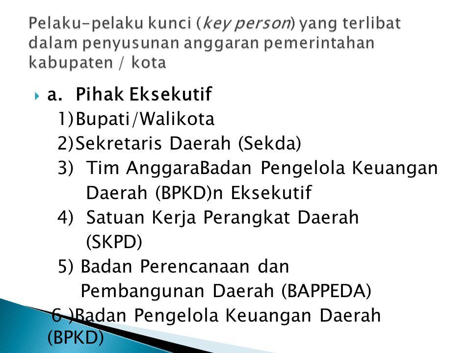  a.Pihak Eksekutif 1)Bupati/Walikota 2)Sekretaris Daerah (Sekda) 3) Tim AnggaraBadan Pengelola Keuangan Daerah (BPKD)n Eksekutif 4) Satuan Kerja Pera