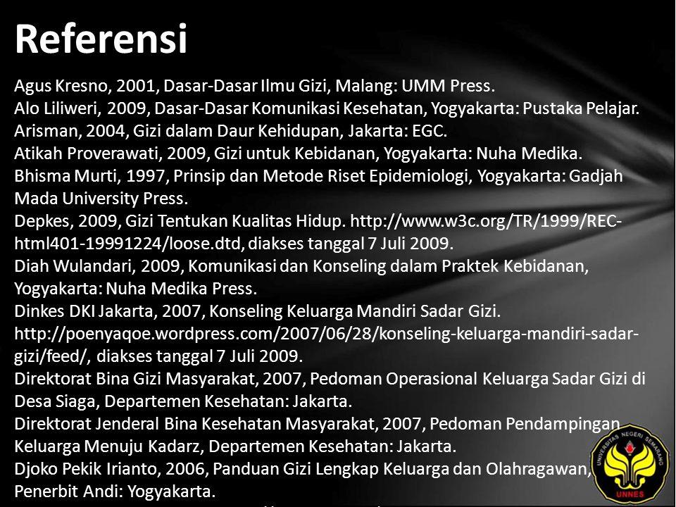 Referensi Agus Kresno, 2001, Dasar-Dasar Ilmu Gizi, Malang: UMM Press.