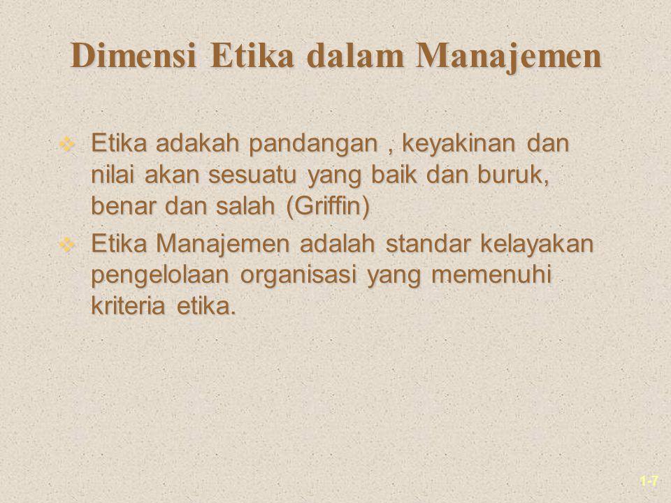 1-7 Dimensi Etika dalam Manajemen v Etika adakah pandangan, keyakinan dan nilai akan sesuatu yang baik dan buruk, benar dan salah (Griffin) v Etika Manajemen adalah standar kelayakan pengelolaan organisasi yang memenuhi kriteria etika.