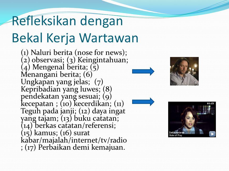 Refleksikan dengan Bekal Kerja Wartawan (1) Naluri berita (nose for news); (2) observasi; (3) Keingintahuan; (4) Mengenal berita; (5) Menangani berita