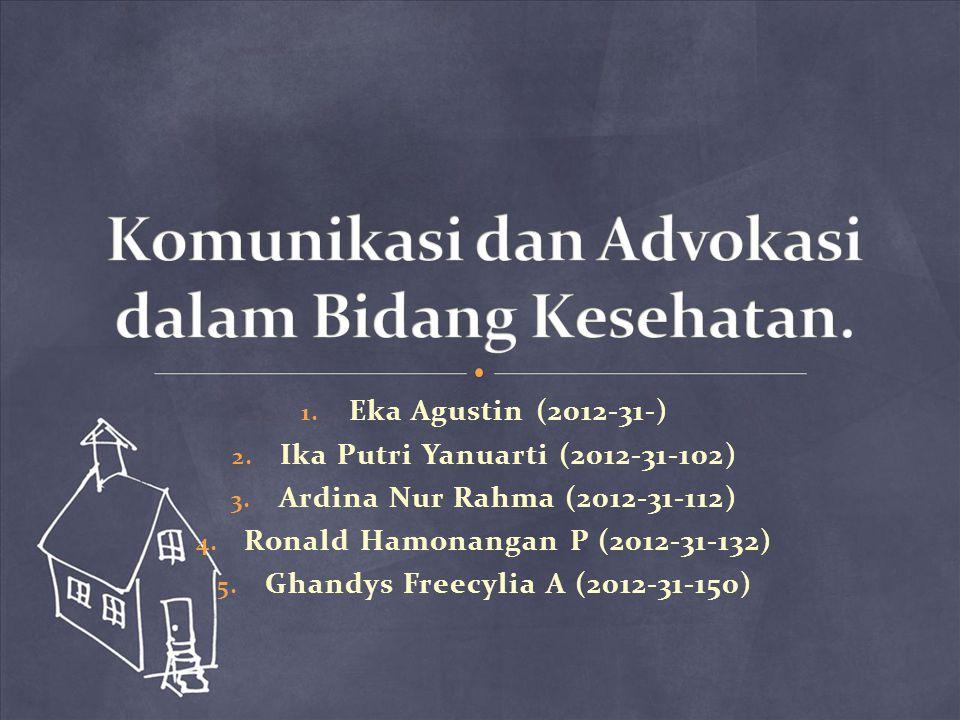1. Eka Agustin (2012-31-) 2. Ika Putri Yanuarti (2012-31-102) 3. Ardina Nur Rahma (2012-31-112) 4. Ronald Hamonangan P (2012-31-132) 5. Ghandys Freecy